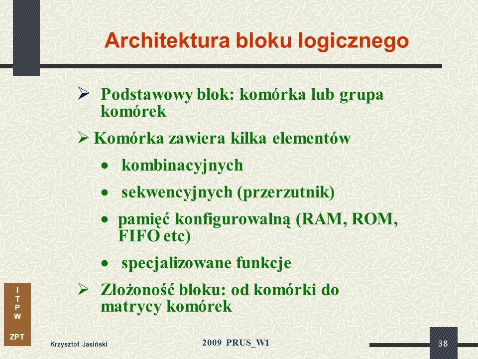 Architektura bloku logicznego