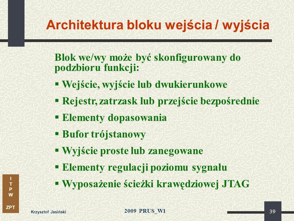 Architektura bloku wejścia / wyjścia