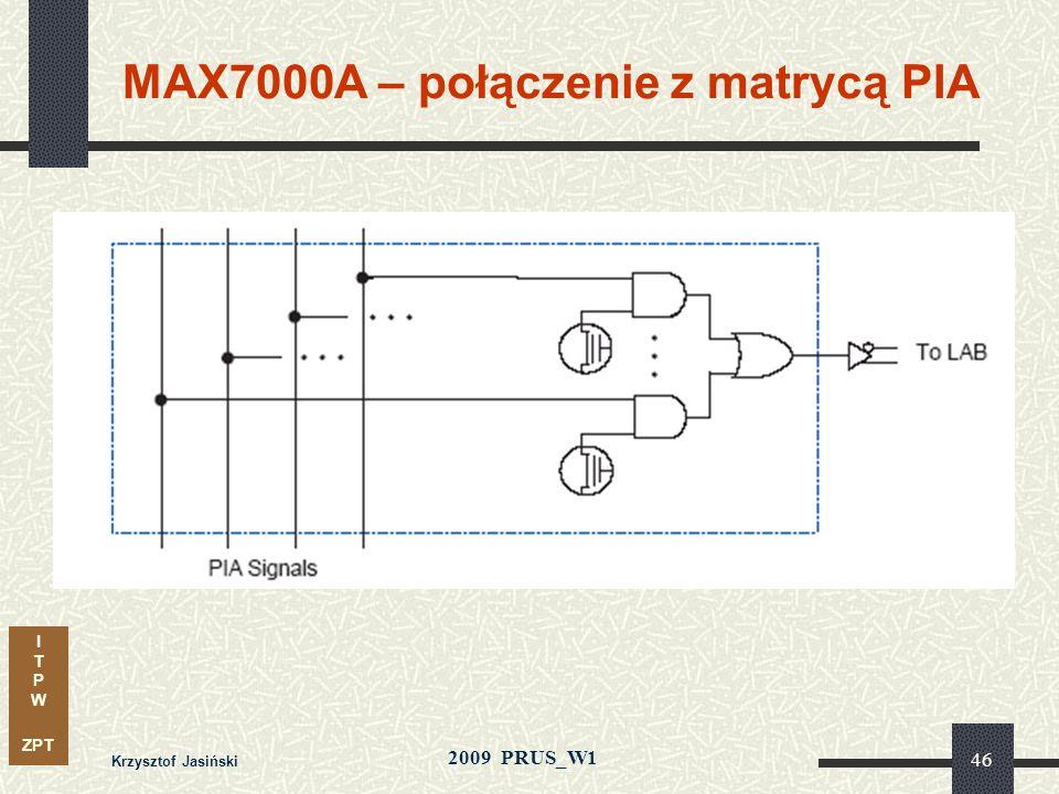 MAX7000A – połączenie z matrycą PIA