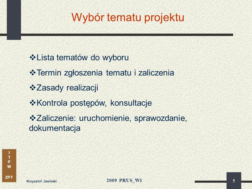 Wybór tematu projektu Lista tematów do wyboru