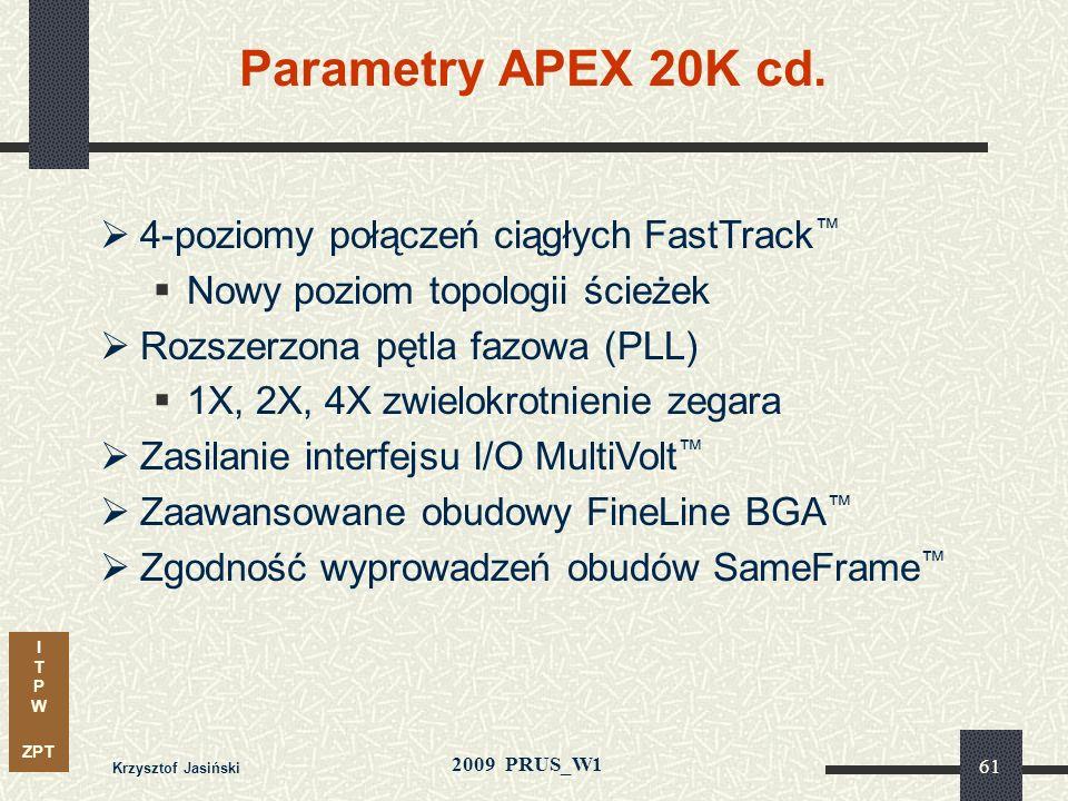 Parametry APEX 20K cd. 4-poziomy połączeń ciągłych FastTrack™