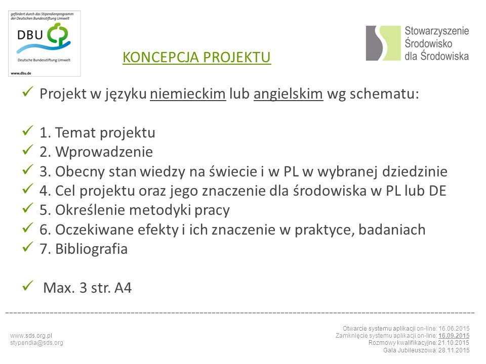 Projekt w języku niemieckim lub angielskim wg schematu: