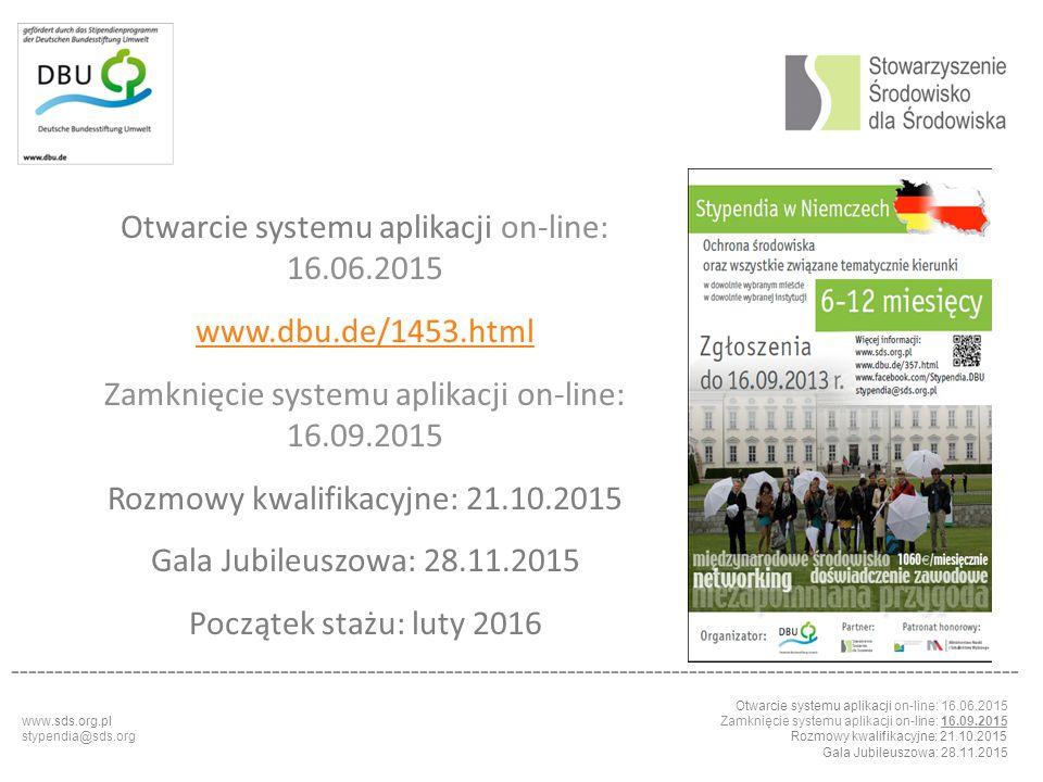 Otwarcie systemu aplikacji on-line: 16.06.2015 www.dbu.de/1453.html