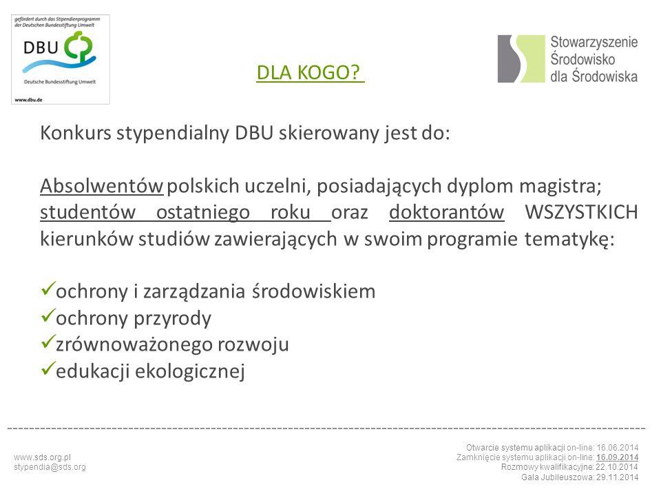 Konkurs stypendialny DBU skierowany jest do: