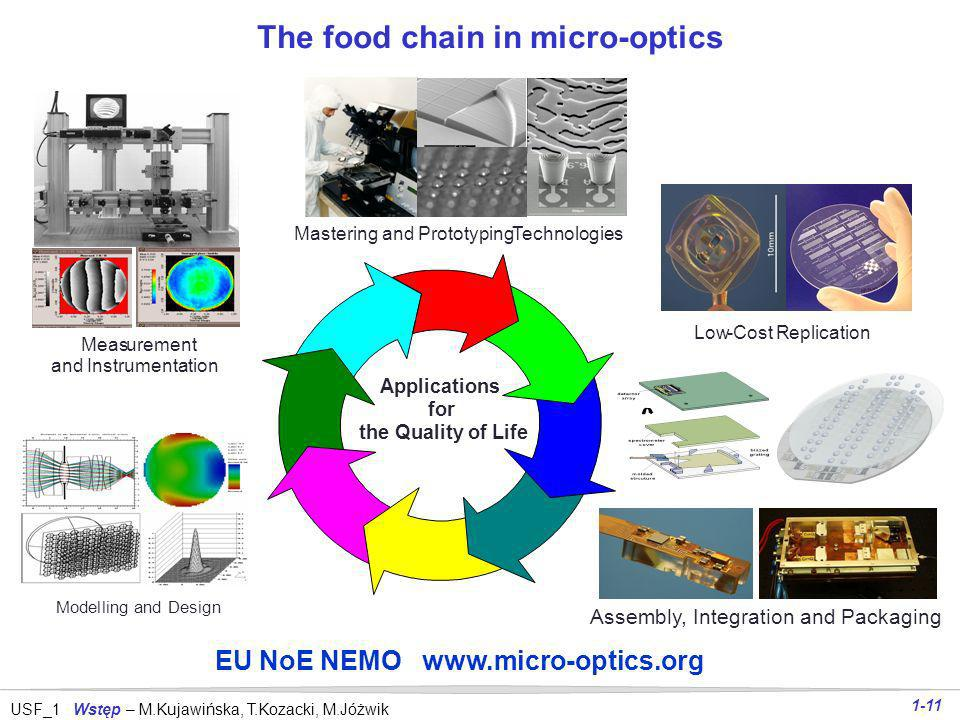 The food chain in micro-optics EU NoE NEMO www.micro-optics.org