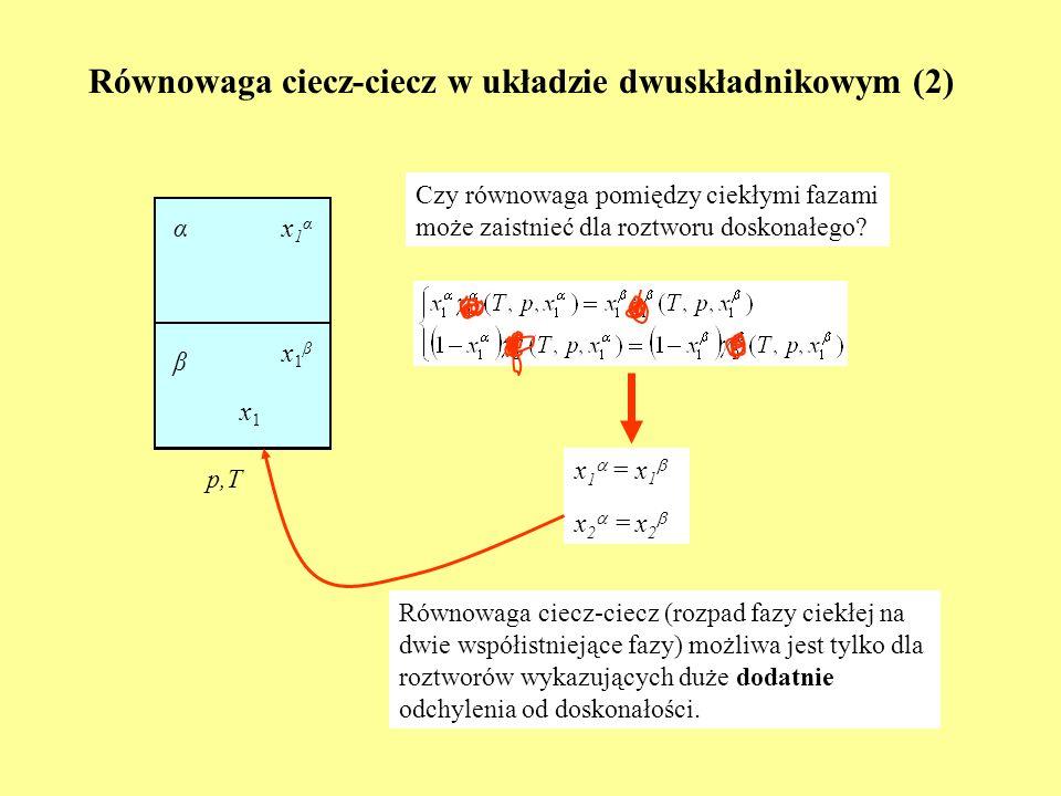 Równowaga ciecz-ciecz w układzie dwuskładnikowym (2)