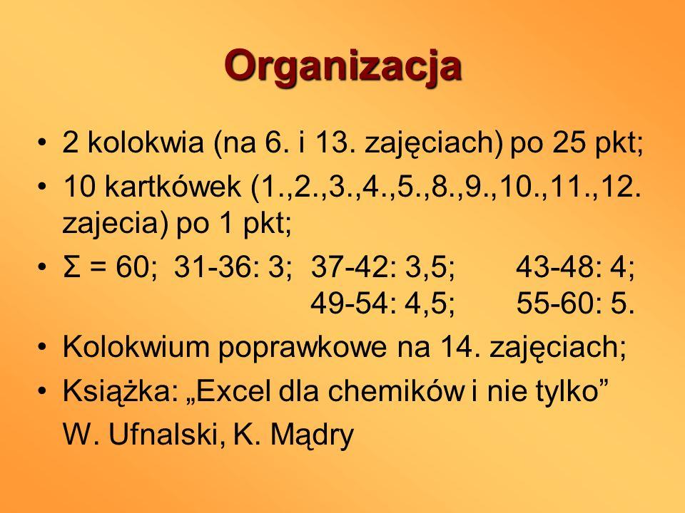 Organizacja 2 kolokwia (na 6. i 13. zajęciach) po 25 pkt;