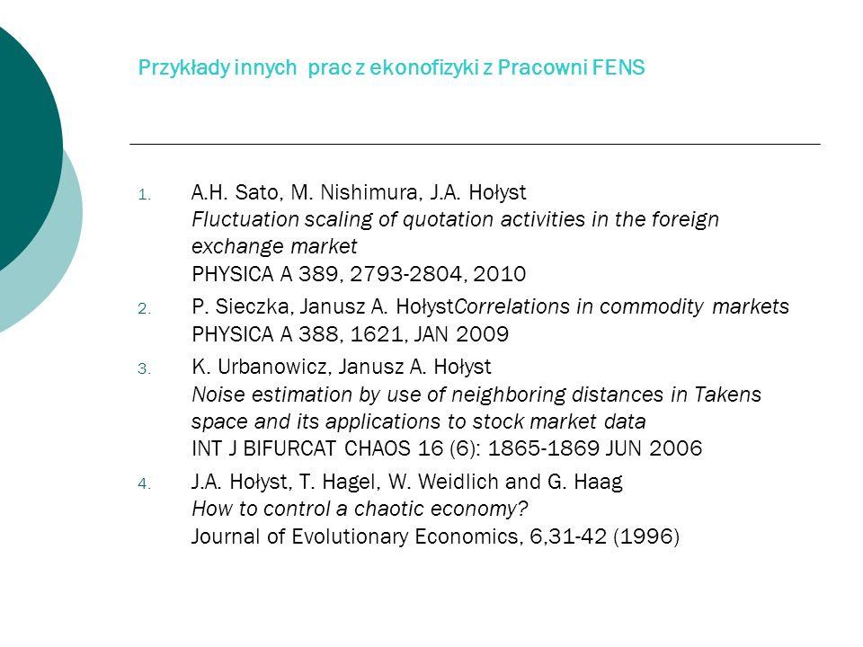Przykłady innych prac z ekonofizyki z Pracowni FENS