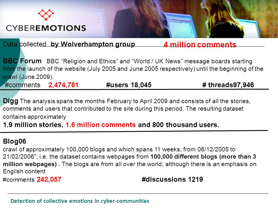 4 million comments Data collected by Wolverhampton group