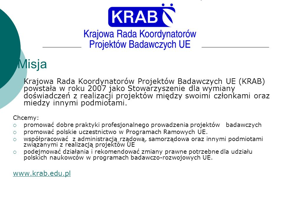 Misja www.krab.edu.pl Chcemy: