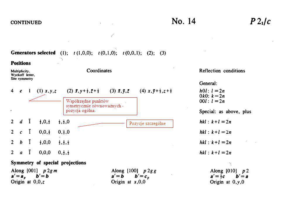 Współrzędne punktów symetrycznie równoważnych -pozycja ogólna
