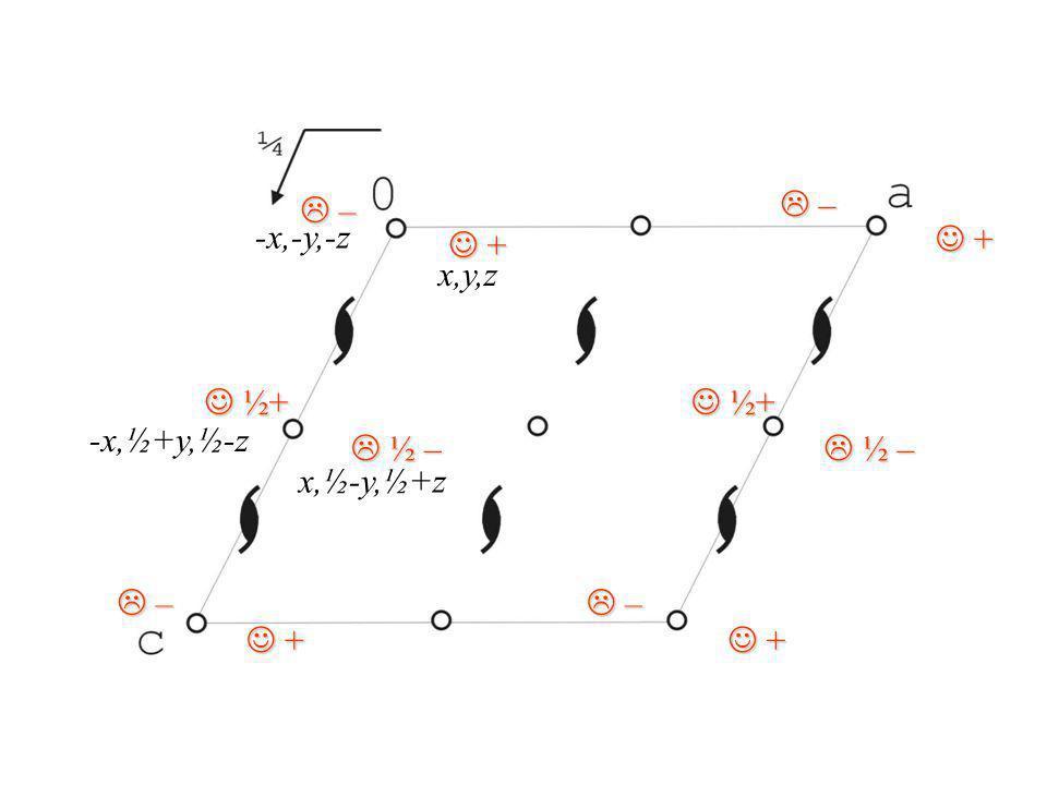 L – J ½+ J + L ½ – L – -x,-y,-z J + x,y,z J ½+ -x,½+y,½-z L ½ – x,½-y,½+z