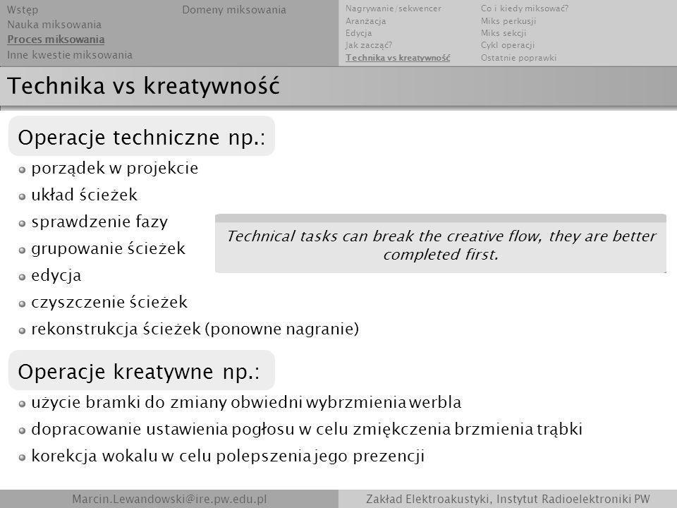 Technika vs kreatywność