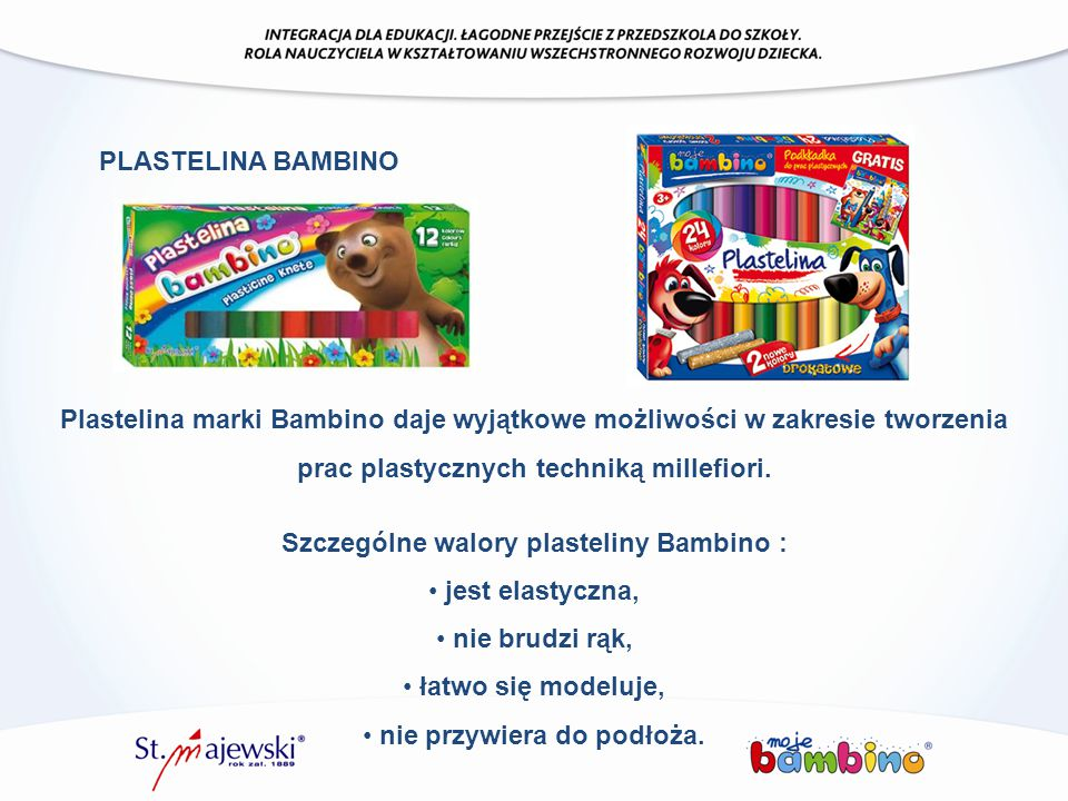 Szczególne walory plasteliny Bambino :