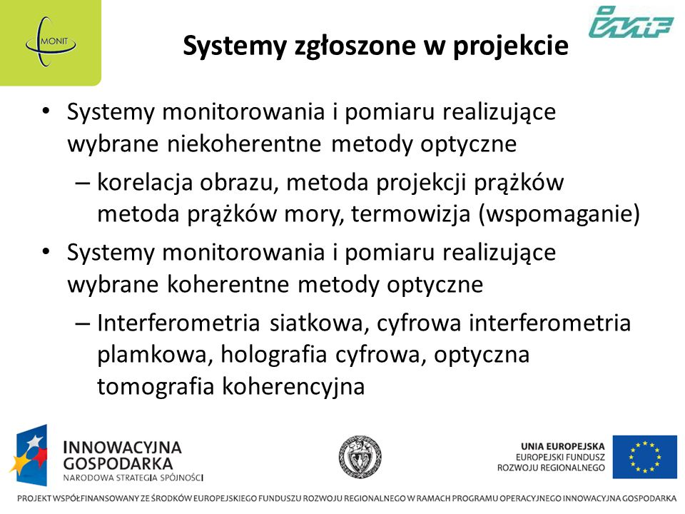 Systemy zgłoszone w projekcie