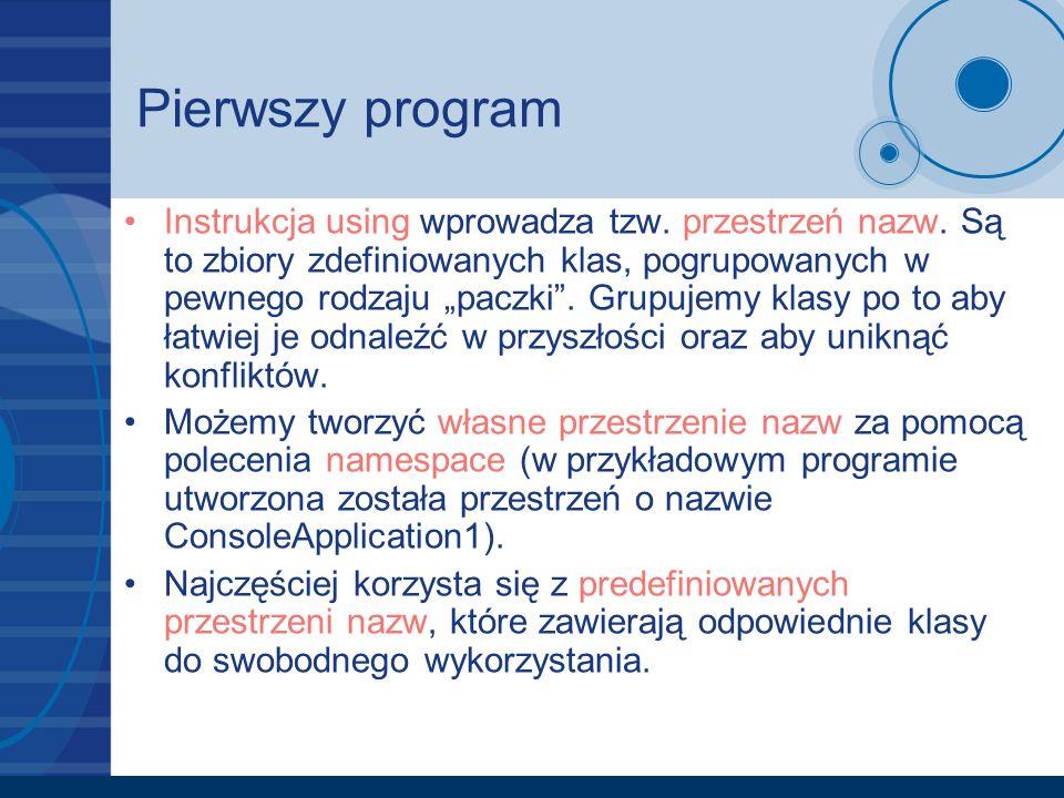 Pierwszy program