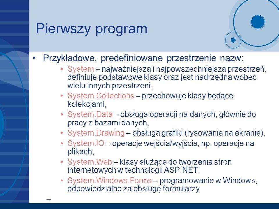 Pierwszy program Przykładowe, predefiniowane przestrzenie nazw: