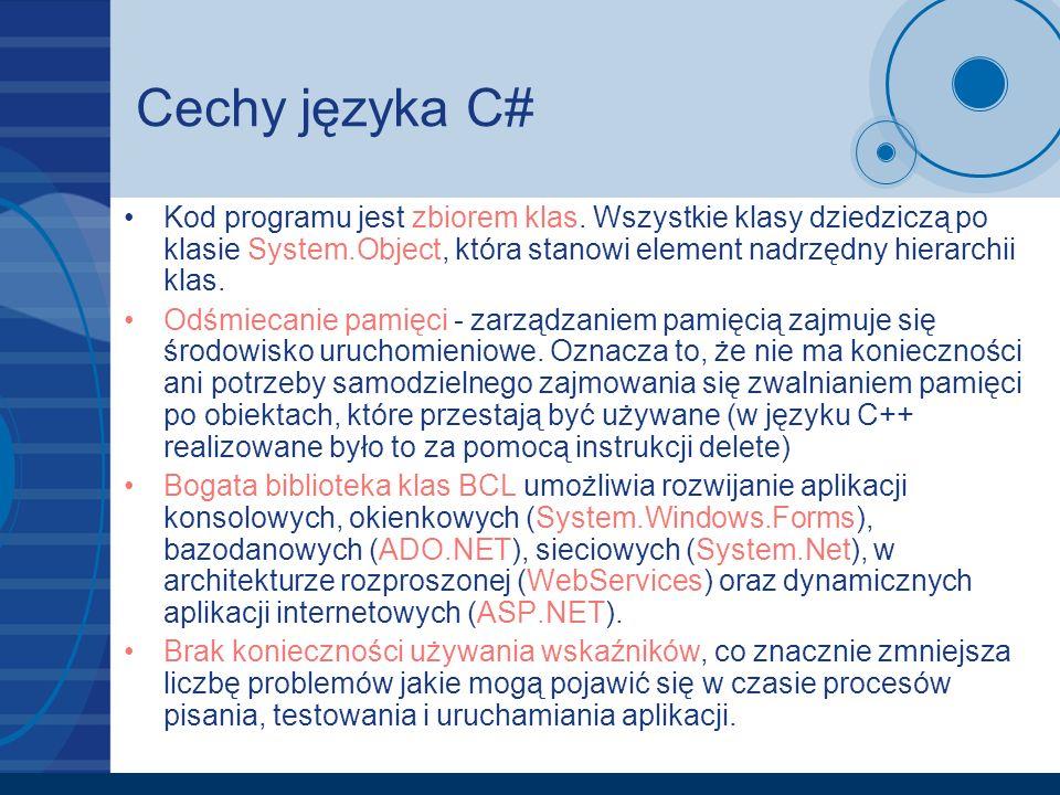 Cechy języka C# Kod programu jest zbiorem klas. Wszystkie klasy dziedziczą po klasie System.Object, która stanowi element nadrzędny hierarchii klas.