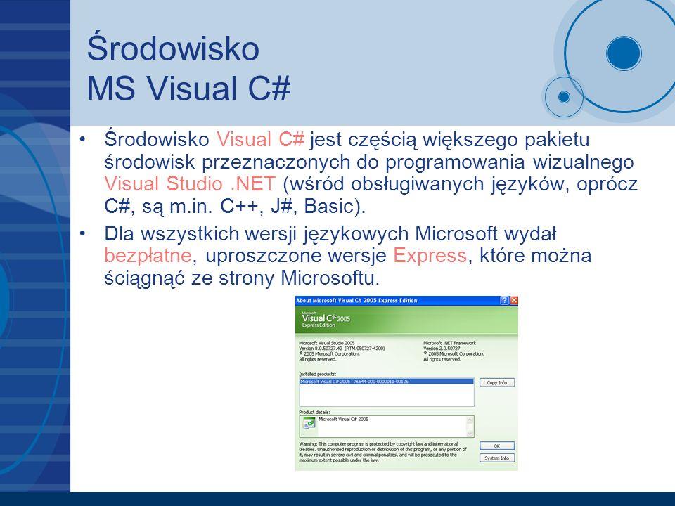 Środowisko MS Visual C#