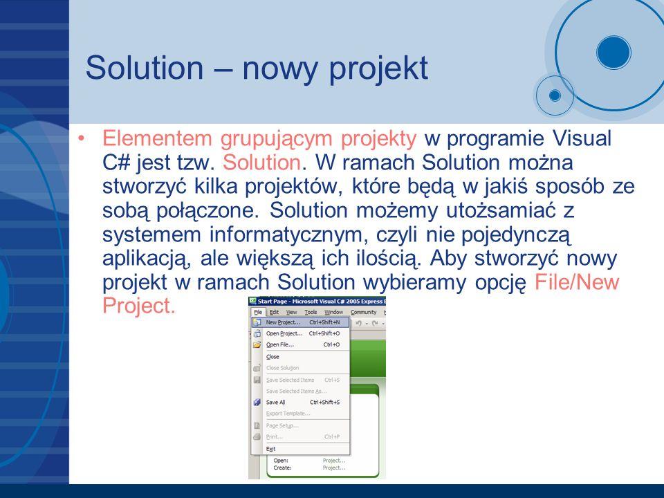 Solution – nowy projekt
