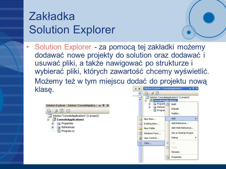 Zakładka Solution Explorer