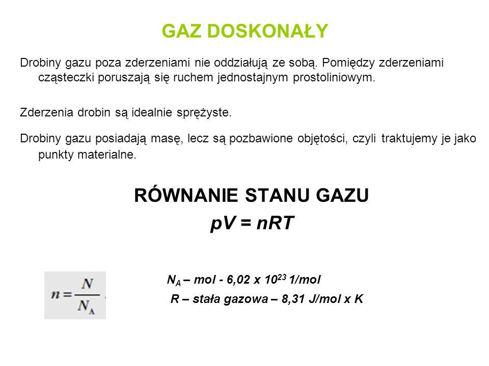 GAZ DOSKONAŁY RÓWNANIE STANU GAZU pV = nRT