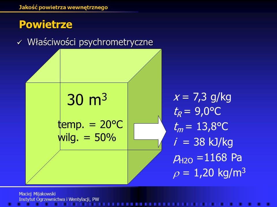 30 m3 Powietrze x = 7,3 g/kg tR = 9,0°C tm = 13,8°C i = 38 kJ/kg