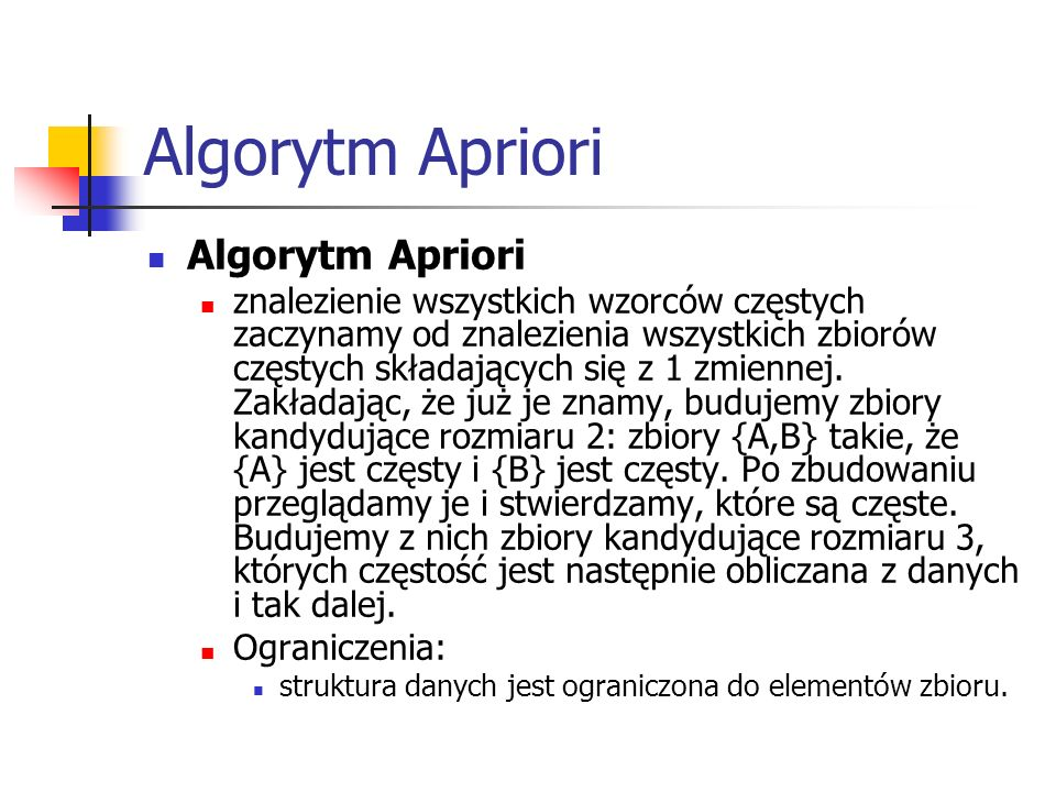 Algorytm Apriori Algorytm Apriori