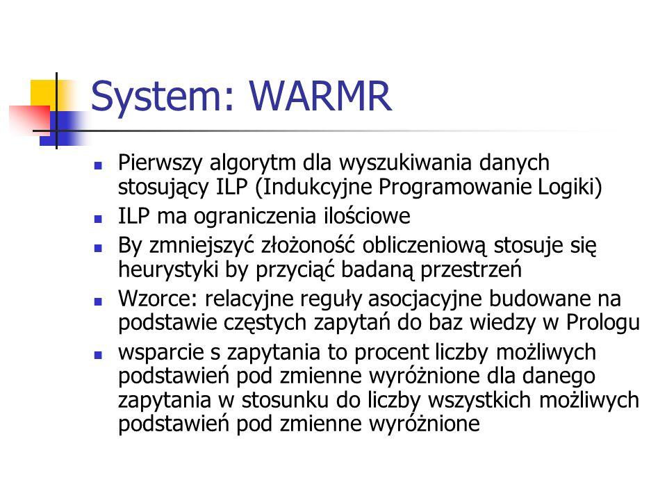 System: WARMR Pierwszy algorytm dla wyszukiwania danych stosujący ILP (Indukcyjne Programowanie Logiki)