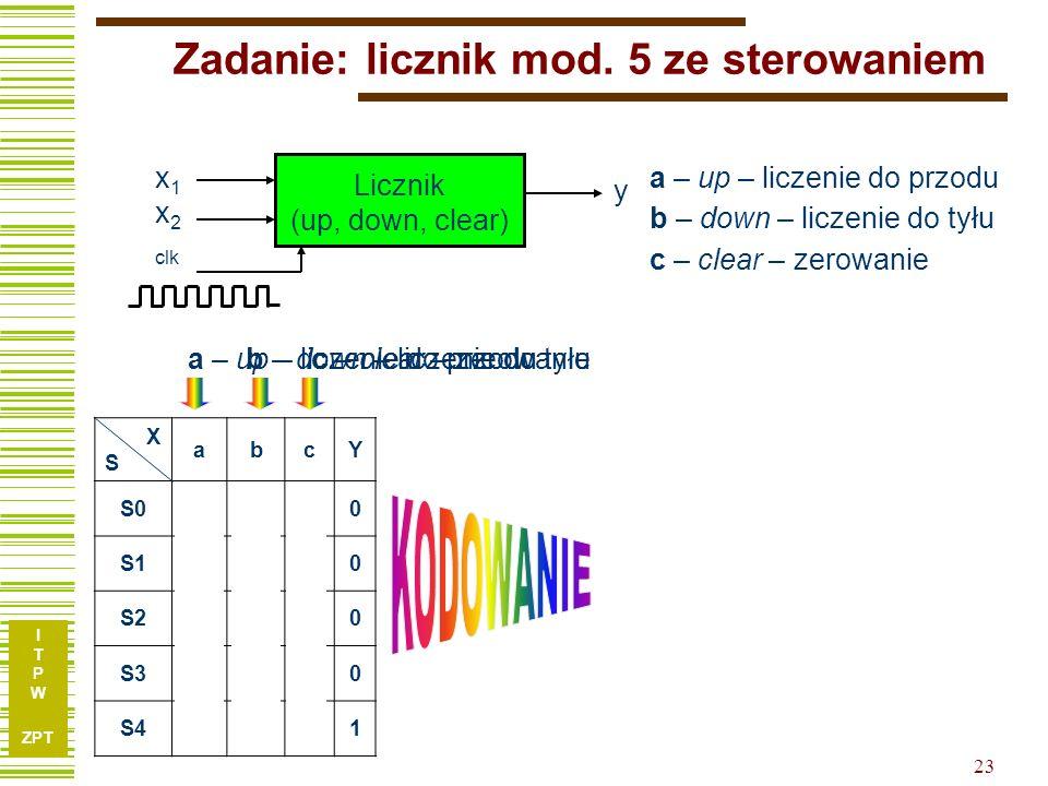 Zadanie: licznik mod. 5 ze sterowaniem