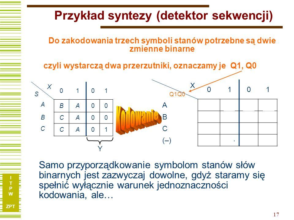 Przykład syntezy (detektor sekwencji)