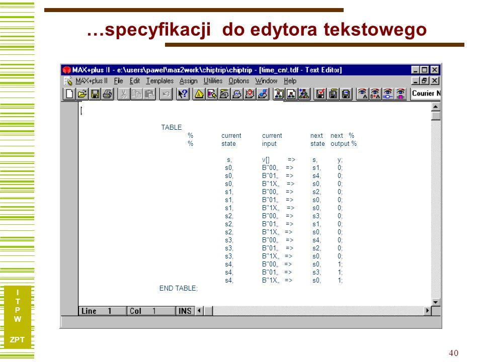 …specyfikacji do edytora tekstowego