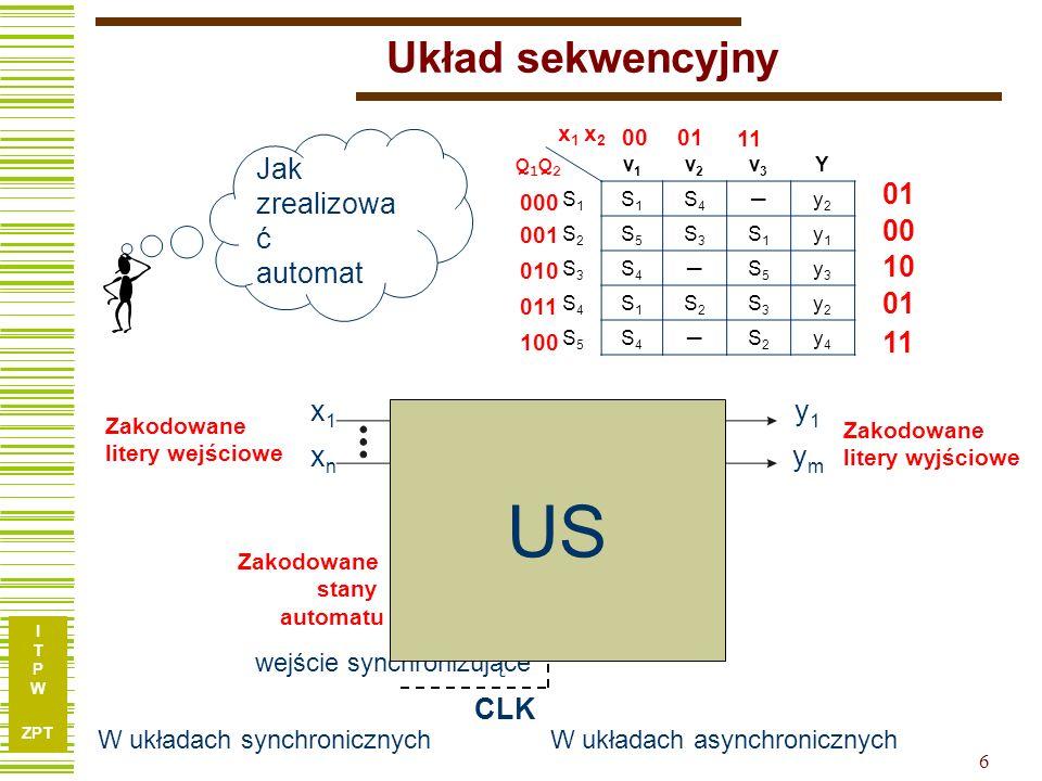 US Układ sekwencyjny UK BP Jak zrealizować automat 01 00 11 10 x1 xn