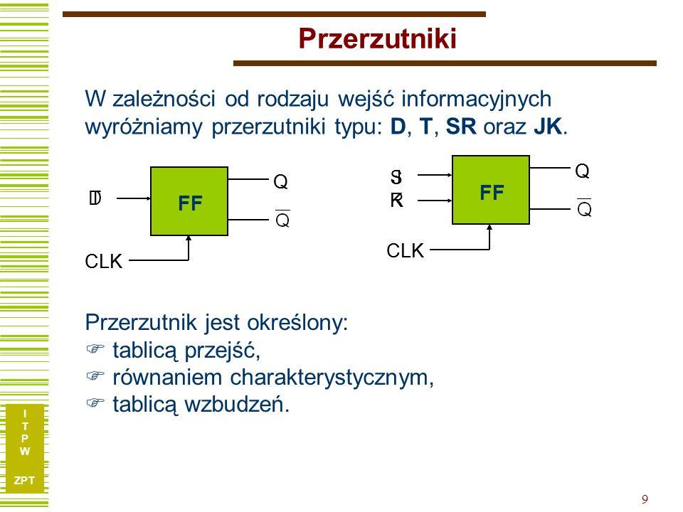 Przerzutniki W zależności od rodzaju wejść informacyjnych wyróżniamy przerzutniki typu: D, T, SR oraz JK.