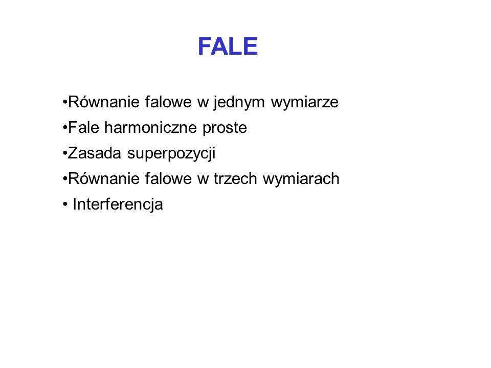 FALE Równanie falowe w jednym wymiarze Fale harmoniczne proste