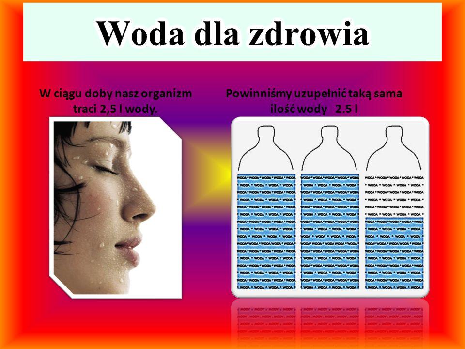 W ciągu doby nasz organizm traci 2,5 l wody.
