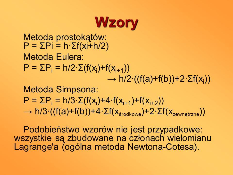 Wzory Metoda prostokątów: P = ΣPi = h∙Σf(xi+h/2) Metoda Eulera: