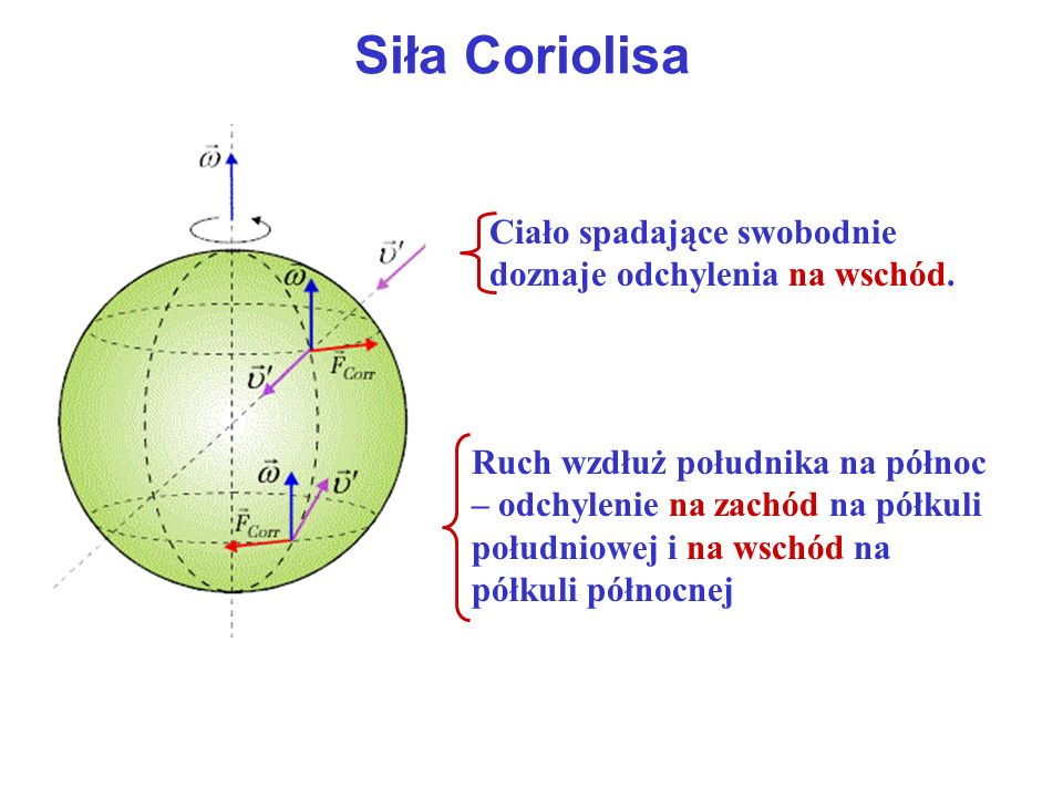 Siła Coriolisa Ciało spadające swobodnie doznaje odchylenia na wschód.