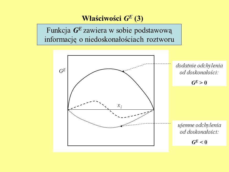 Właściwości GE (3)Funkcja GE zawiera w sobie podstawową informację o niedoskonałościach roztworu. dodatnie odchylenia od doskonałości: