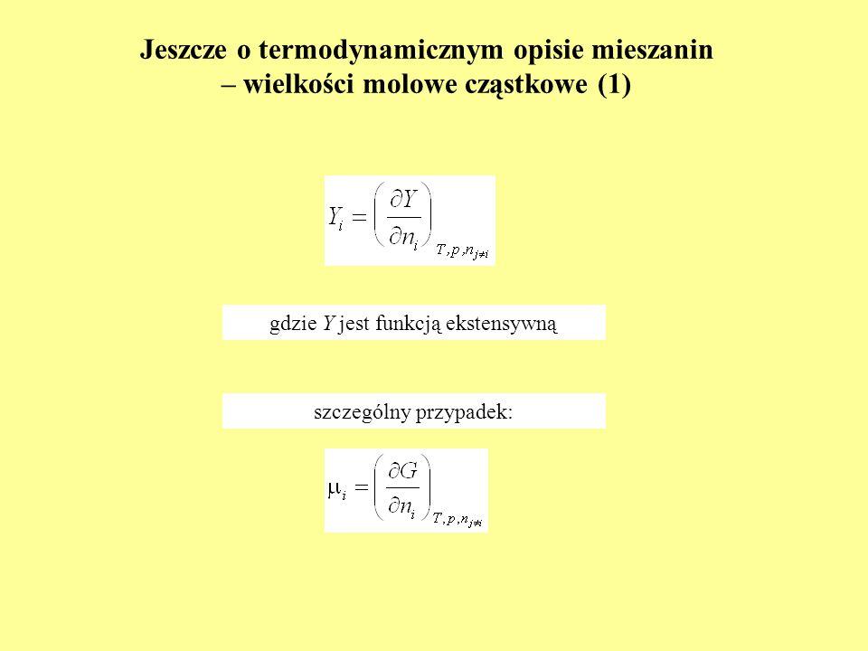 Jeszcze o termodynamicznym opisie mieszanin – wielkości molowe cząstkowe (1)