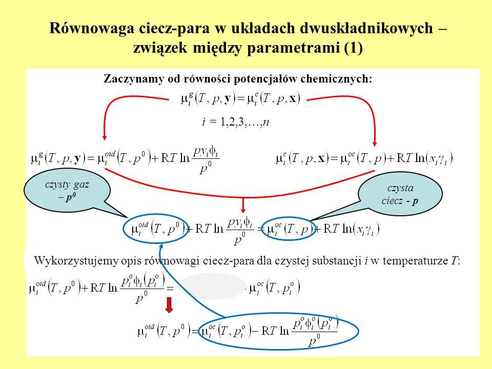 Równowaga ciecz-para w układach dwuskładnikowych – związek między parametrami (1)
