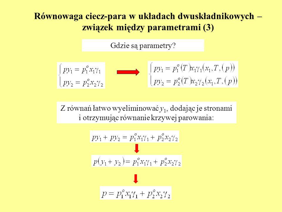 Równowaga ciecz-para w układach dwuskładnikowych – związek między parametrami (3)