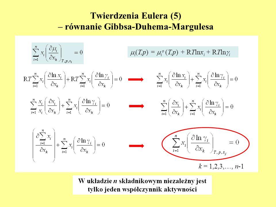 Twierdzenia Eulera (5) – równanie Gibbsa-Duhema-Margulesa