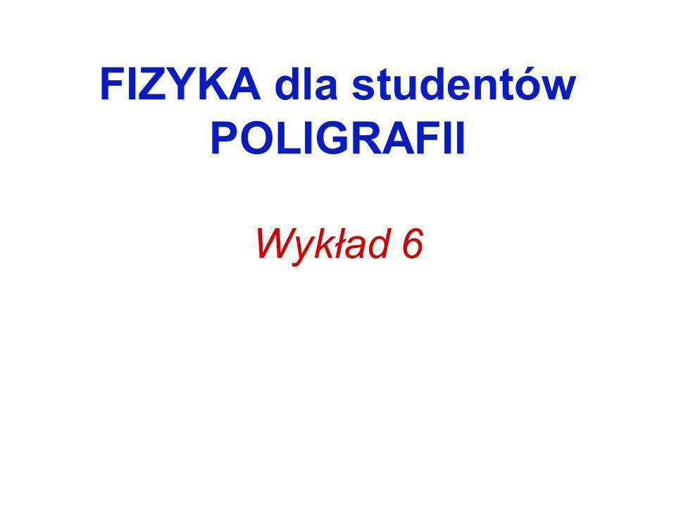 FIZYKA dla studentów POLIGRAFII Wykład 6