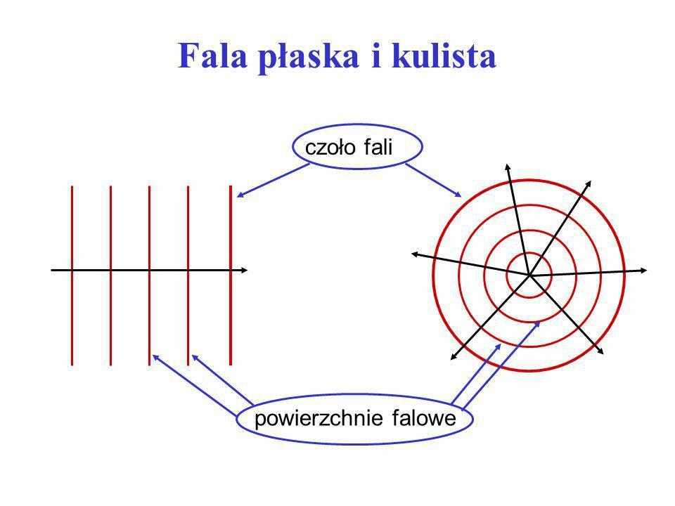 Fala płaska i kulista czoło fali powierzchnie falowe