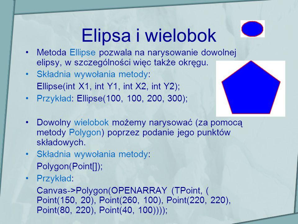 Elipsa i wielobok Metoda Ellipse pozwala na narysowanie dowolnej elipsy, w szczególności więc także okręgu.