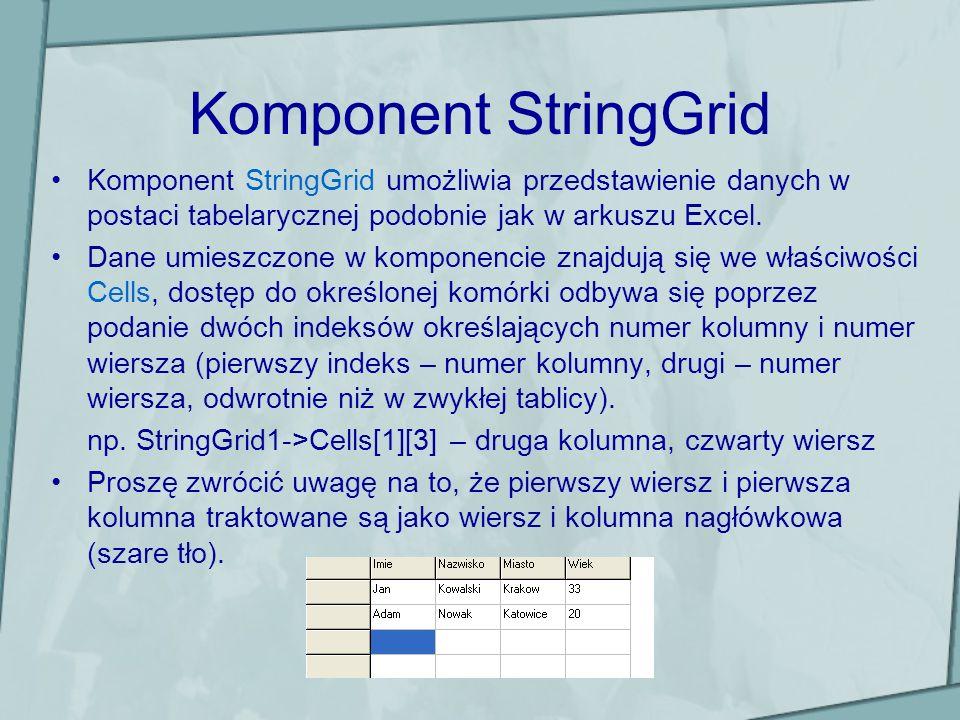 Komponent StringGrid Komponent StringGrid umożliwia przedstawienie danych w postaci tabelarycznej podobnie jak w arkuszu Excel.