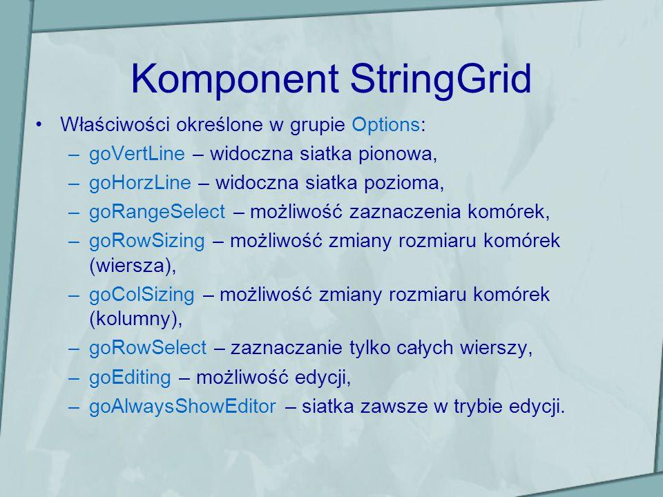 Komponent StringGrid Właściwości określone w grupie Options: