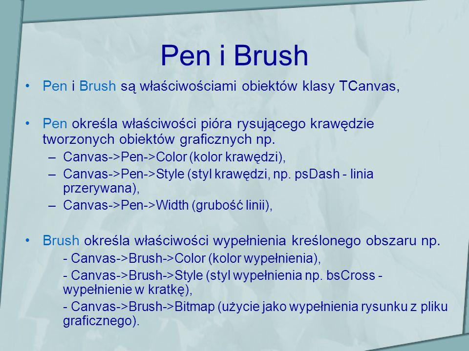 Pen i Brush Pen i Brush są właściwościami obiektów klasy TCanvas,