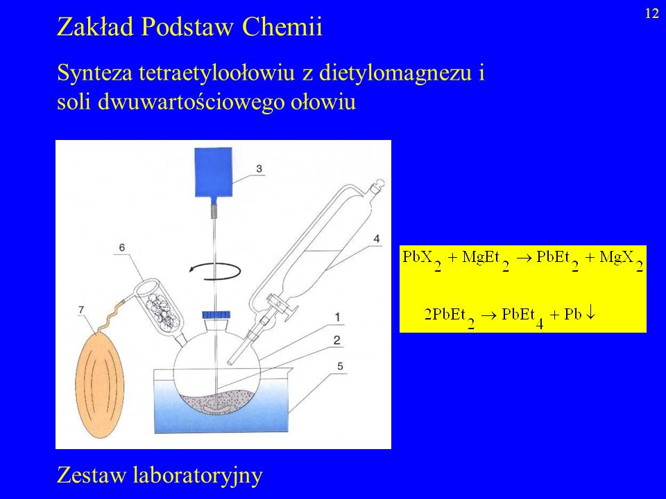 Zakład Podstaw Chemii Synteza tetraetyloołowiu z dietylomagnezu i